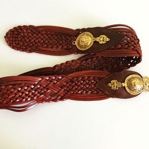 Vintage 1980's Leather Braided Belt Size L